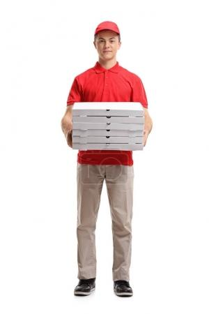pizza delivery boy holding pizza boxes