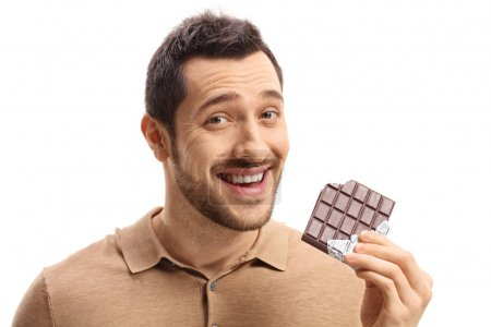 guy holding a bitten chocolate bar