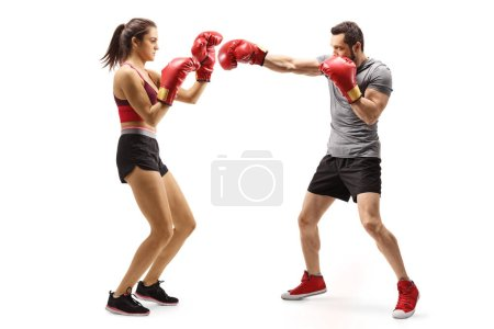 Photo for Full length shot of a man and woman boxing isolated on white background - Royalty Free Image