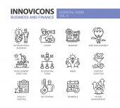 Podnikání, finance moderní tenká linie design ikony a piktogramy