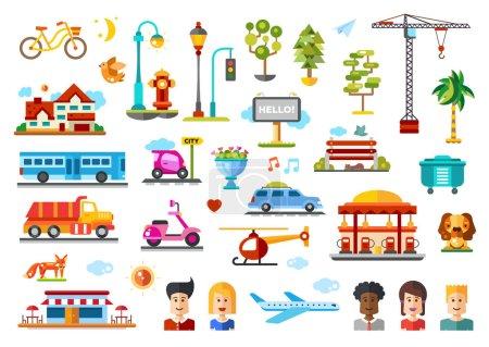 Illustration pour Objets urbains et modèles vectoriels icône illustrative sertie d'éléments infographiques. Voitures, hélicoptères, stations-service, cafés, arbres, objets humains - image libre de droit