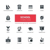 School concept - line design icons set