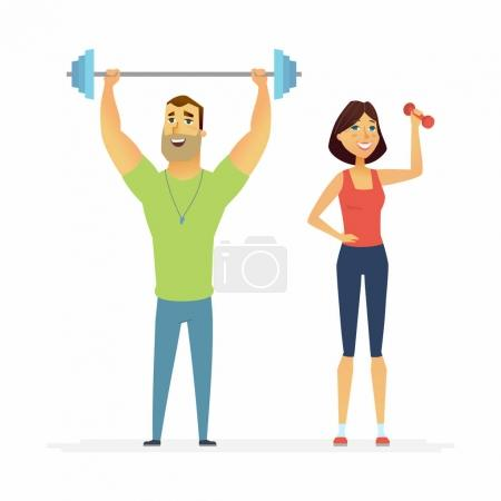 Fitness instructors - cartoon people characters illustration