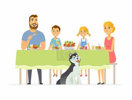 Illustration pour Bonne famille dîner ensemble - personnages de dessins animés modernes personnages illustration isolé sur fond blanc. Mère avec deux enfants et mari assis à la table, manger de la salade, des aliments sains - image libre de droit