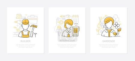Différentes professions - bannières de style design de ligne ensemble