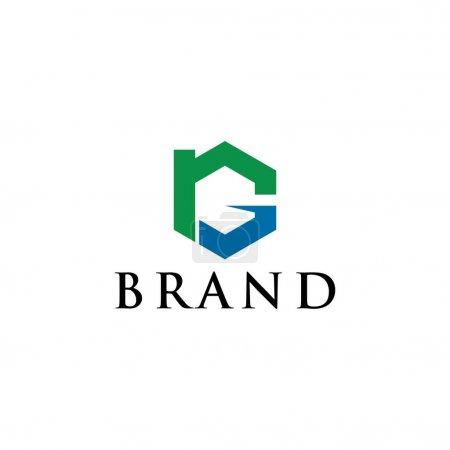 letra R y G vector concepto de diseño de logotipo