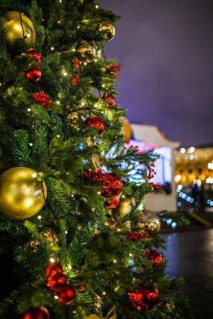 Photo pour Photo du Nouvel An sapins décorés sur fond de ciel bleu foncé en soirée - image libre de droit