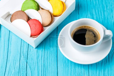 Photo for Photo of macaroons cake with cup of coffee - Royalty Free Image
