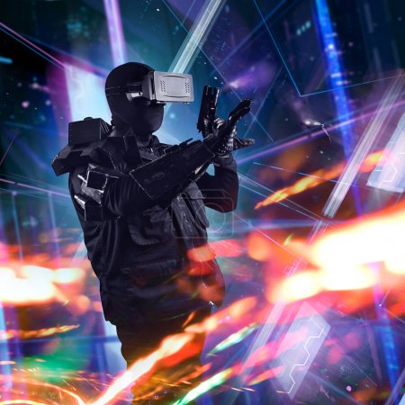 Robotic vr swat soldier on a future city background.