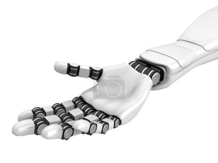 Photo for Futuristic Robotic Hand Arm Holding Empty Space. 3d Render Illustration - Royalty Free Image