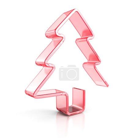 Photo pour Arbre de Noël en verre Stylich Icône rouge. Illustration de rendu 3d - image libre de droit
