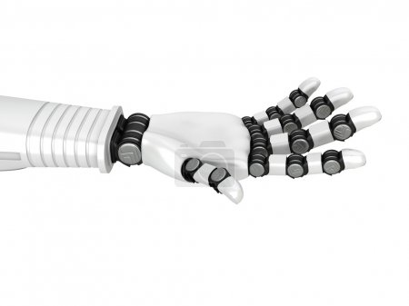 Photo for Futuristic Robot Arm Hand Holding. 3d Render Illustration - Royalty Free Image