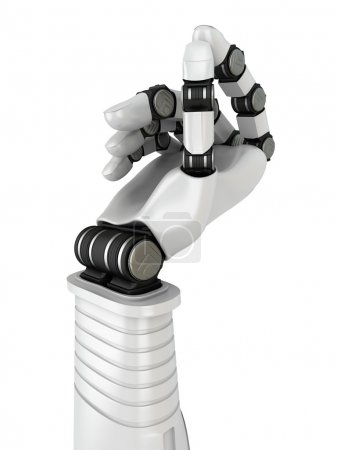 Photo for Futuristic Robot Hand Holding Blank Object. 3d Render Illustration - Royalty Free Image