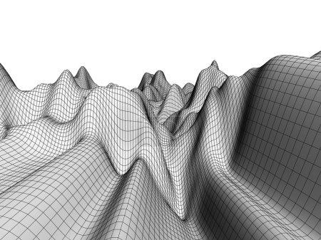 Wireframe Terrain Digital Landscape
