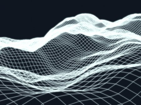 Wireframe landscape topology background