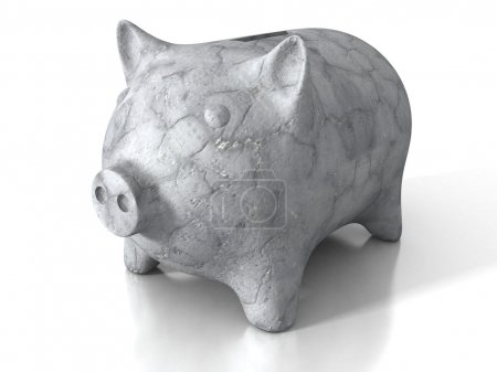 Concrete stone piggy money bank