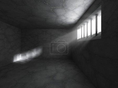 Dark prison jail cell interior