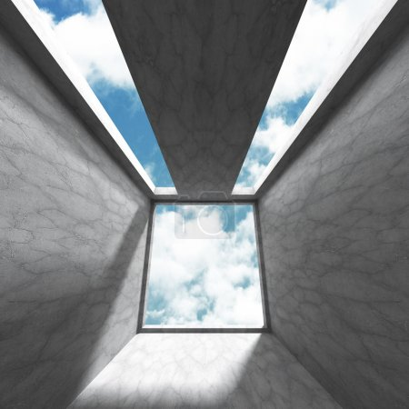 Room with concrete walls and window to sky