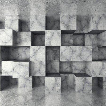 Betonwand mit kubischem Muster