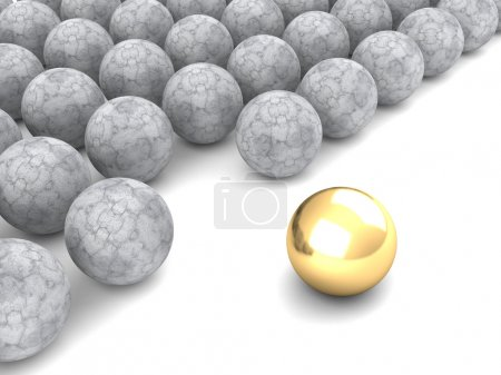 Photo for Leadership concept with golden and concrete spheres isolated on white background. 3d render illustration - Royalty Free Image