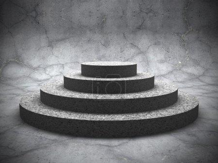Empty concrete round pedestal podium