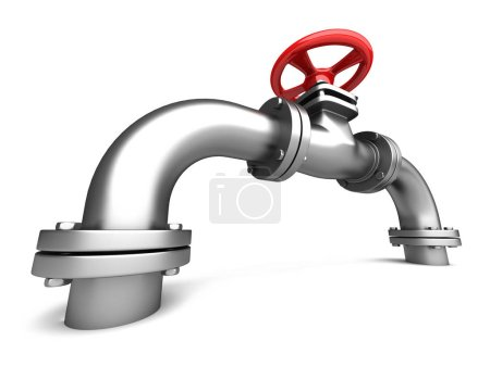 Metallic pipe with red water valve