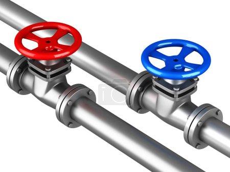 Photo pour Canalisations d'eau chaude froide avec vannes bleues rouges sur fond blanc. Illustration de rendu 3D - image libre de droit