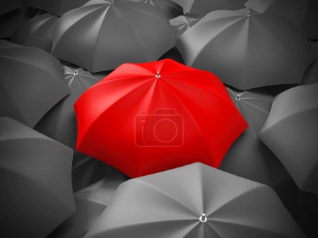 Red umbrella out from crowd