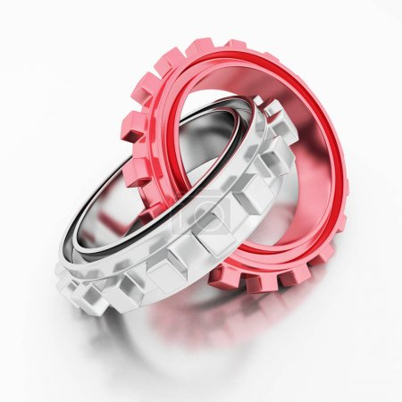 Red different and silver glossy gears