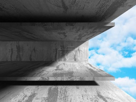 Concrete abstract architecture on cloudy sky