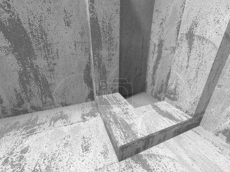 Dark concrete room interior.