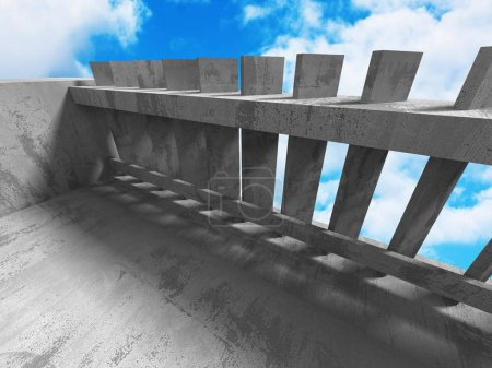 Concrete geometric architecture with cloudy sky