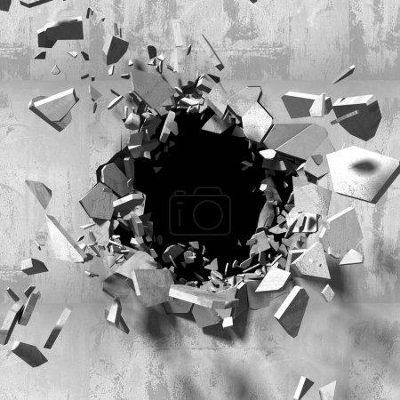 Mur en béton fissuré avec trou d'explosion