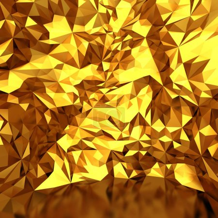 Photo for Festive luxury golden background with chaotic triangles. 3d render illustration - Royalty Free Image