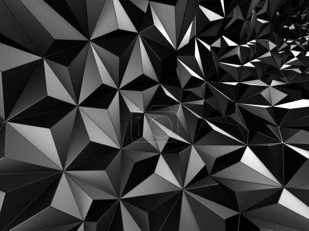 Photo pour Fond en relief géométrique noir. Illustration de rendu 3D - image libre de droit