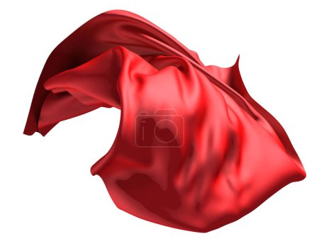 Red satin fabric flying in the wind