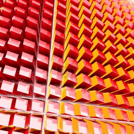 Geometric wall of glass cubes