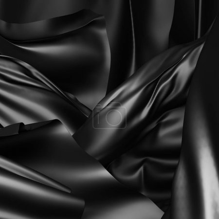 Black silk satin cloth