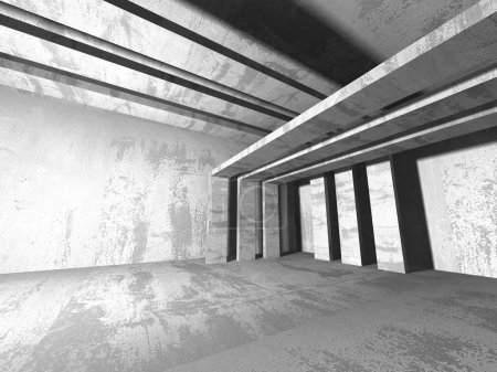 Photo for Dark empty room. Concrete walls. Architecture grunge background. 3d render illustration - Royalty Free Image
