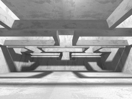 Intérieur sombre sous-sol salle vide. Murs de béton. Contexte de l'architecture. illustration de rendu 3D