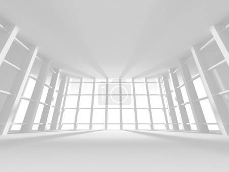 Futuristic White Architecture Design Background. 3d Render Illustration