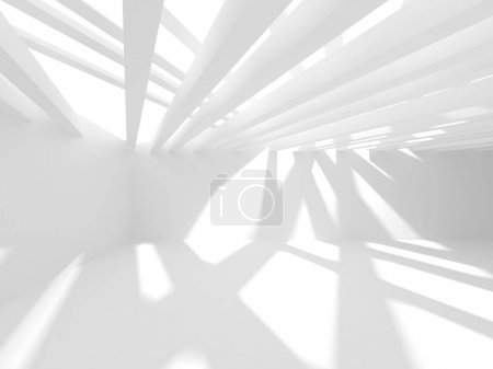 Photo for Abstract geometric architectural background in white with shadows - Royalty Free Image