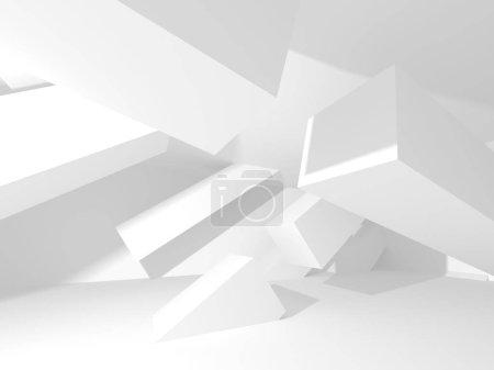 Photo pour Fond architectural géométrique abstrait en blanc avec ombres - image libre de droit