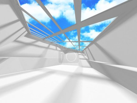 Photo for Futuristic White Architecture Design on Cloudy Sky Background. Abstract Construction Concept. 3d Render Illustration - Royalty Free Image