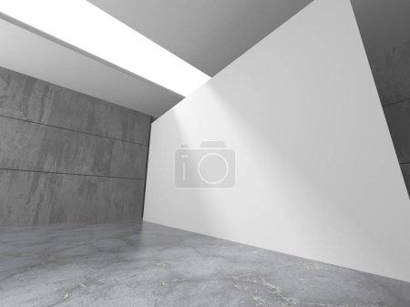 Photo for Dark concrete empty room. Modern architecture design. Urban textured background. 3d render illustration - Royalty Free Image