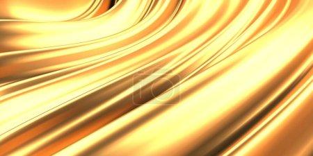 Photo pour Fond liquide ondulé, abstrait doré. 3d rendre l'illustration - image libre de droit