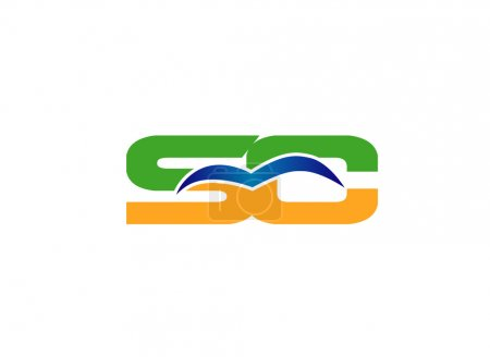Elegant alphabet S and C letter logo. Vector illustration