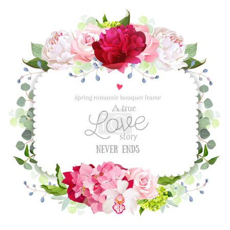 Square floral vector frame with peony, rose, carnation, orchid, hydrangea and eucaliptus.