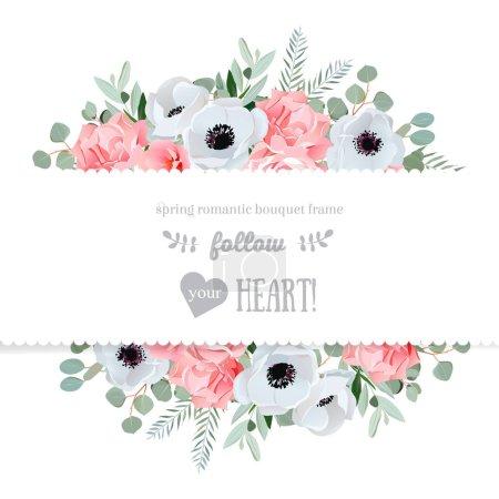 Anémone, rose, fleurs roses et feuilles décoratives d'eucaliptus vec