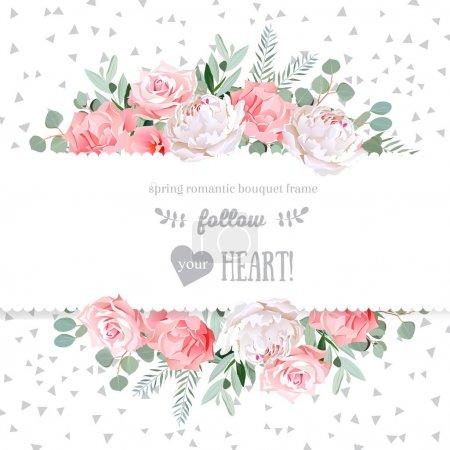 Rose, oeillet, pivoine, fleurs roses et eucaliptus décoratif l